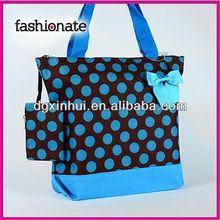 large polka dot brown blue organic cotton tote bags wholesale, shopping bag hand bag
