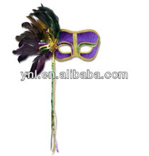 Purple Venetian Mardi Gras Mask with Feathers