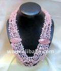 Rose Quartz Semi Precious Stone 6 Strand Necklace