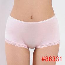 Hot soft laced bamboo fiber women boyshort one size young lady underwear women boyleg lady panties hot lingerie sexy intimate