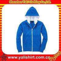 Winter custom mens zipper front hooded windstopper polar fleece jacket with elastic cuff