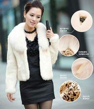 2013 New Real Fox Hair Collar Short Fur Coat Beige HN10111709