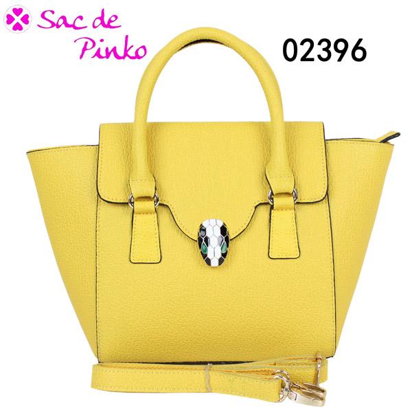 2013 Bright yellow snake head buckle no name lady leather handbag