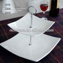 New bone ceramic dessert decoration -square hot selling white cake stands