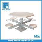 Floor Mounted 4 Man Metal Pedestal Table with stainless steel top