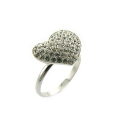 Silver Ring with White Crystal on Ferido Glue