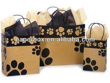 paw print Kraft paper shopping bag kraft bag shopping bag