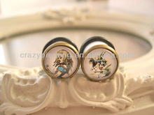 Alice in Wonderland Acrylic Double flare With White Rabbit Sweet Lolita Ear Gauge Plugs Body Piercing Jewelry Expander