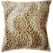 Faux Fur Brown Leopard Skin Print Cushion Cover Pillow Case