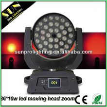 SUN Hot 36*10w led fast moving products light for stage lighting