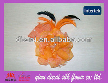 Wedding artificial peony flower brooch/hair clip double use with feather decorated