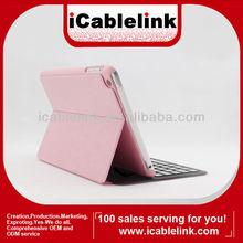 ultra-thin wireless bluetooth 3.0 keyboard,bluetooth keyboard case for ipad mini ,pink