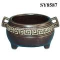 antiguo recipiente de cocina de cerámica mini olla jardín de flores