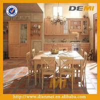 european style teak wood intergrated kitchen cupboard