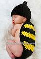tığ Yeni doğan bebeğin arı Cape şapka ve hayvan örme kıyafet ayarlayın fotoğrafçılık pervane