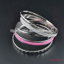 high quality metal bangle set with enamal mixed