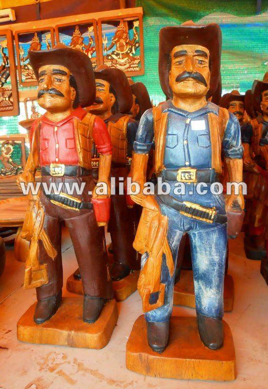 Cowboy sculpture wood carving