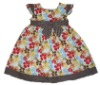 Party colourful flower children's clothing woven dress for girls 2012