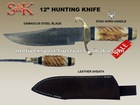 12&quot; Damascus Hunting Knife Stag Horn Handle With Leather Sheath.