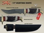 11&quot; Damascus Hunting Knife Stag Horn Handle With Leather Sheath.