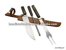 Asado SET botão triplo faca garfo e CHAIRA bainha de couro comprimento TOTAL 43 cm