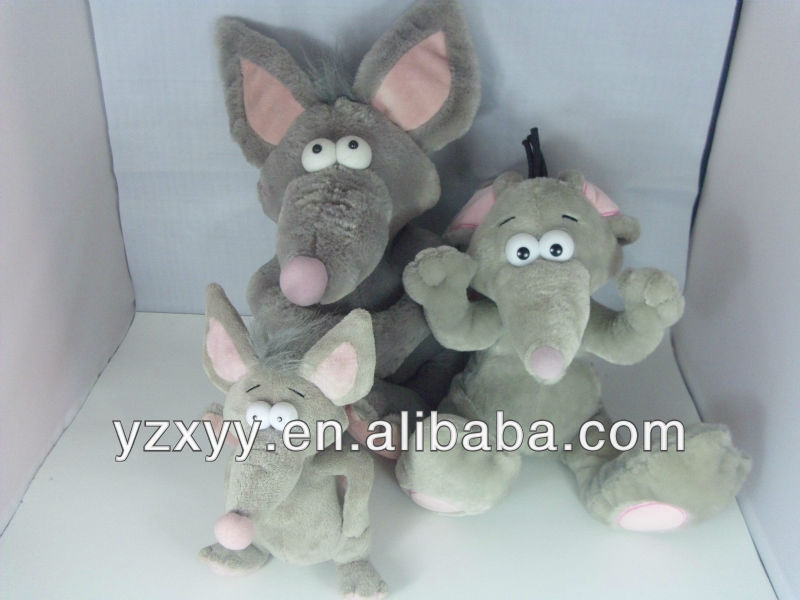 gray pink giant stuffed plush mouse toys/mouse family
