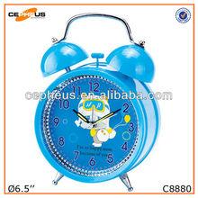 Bule Color Sweep Movement Plastic Quartz Table Clock