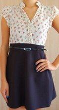 Floral top, black bottom dress