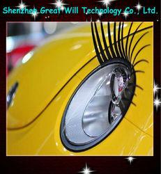 Car accessary fashionable white false car eyelashes with diamond