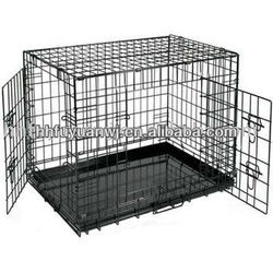 Two Door Folding Dog Cage Crate Kennel