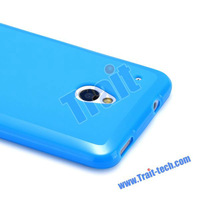 For HTC One Mini Case Cover TPU Material Blue color Gel