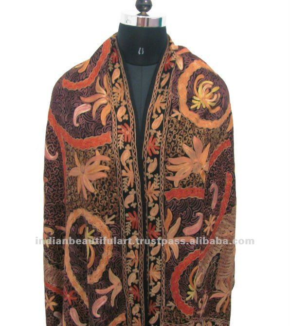 Black Heavy Embroidered Kashmir Pure Wool Shawl Stole