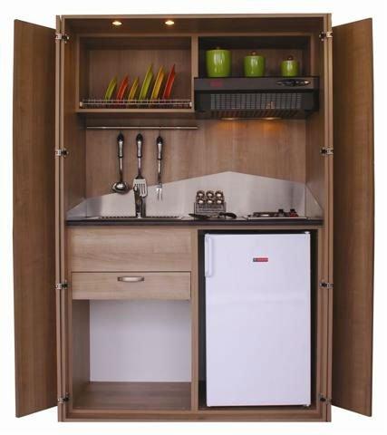 Mini cuisine avec portes pliantes avec vier hotte - Mini hotte aspirante cuisine ...