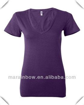 Plain design slim fit Ladies' Deep V-Neck Jersey short sleeve shirts