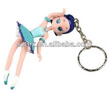 3d dancing girl keychain, hot plastic keychain with funny girl design pvc keychain