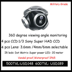 Sony CCD 560tvl 4 Camera in One Bracket 360 Degree Camera