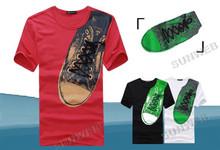2013 Fashion Men's Round Neck Shoes Pattern Print Cotton blend Short Sleeve T-Shirt Top Tee 3 Colors M,L,XL,XXL 17653