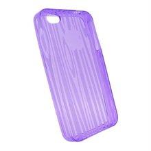 Wood Pattern Gel Case for Iphone 4G Purple