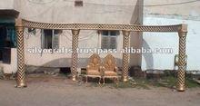 Diamond fiber wedding mandap decoration with diamond and crystal fitted fiber pillars from India