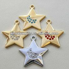 colorful fashional five star shape Metal Keychain Metal Tags Keyring