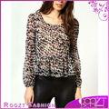 2013 nuevo diseño de otoño mujer punto rebaño tejido blusa de las señoras tops de gasa rt0765