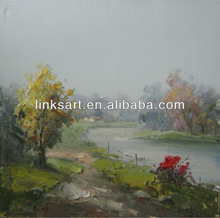 Handmade Natural Scenery Oil Painting Village River Side Landscape Oil Painting