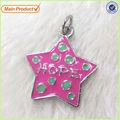 La única forma de estrella flotante de esmalte de color rosa esperanza encantos carta #13163 venta al por mayor