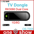 andriod tv dongle OS-T005 Andriod RK3066 Dual core ARM-Cortex A9 TV box support AV HDMI 3G Dongle