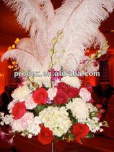 pena de avestruz e centros de arranjos florais