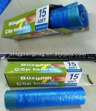 Printed or no printed PE customized plastic trash bag holder with drawstring