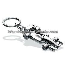 RACING CAR custom silver 3d metal keyring/key ring