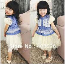 Casual 4Pcs Baby Kids Girls Summer Sleeveless Lace Shirt Puff Sleeve Denim Splicing Mesh Princess Dress 12228