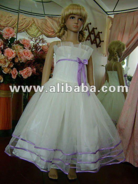 Satén y Tulle de la flor vestido de la muchacha