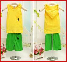 2013 summer 100% combed cotton children plain set of clothes